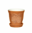 "Andrea by Sadek Pinecone Rust 5"" Planter with Saucer"