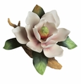 Andrea by Sadek Pink Magnolia on Branch Porcelain Flower Figurine