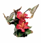 """Andrea by Sadek Porcelain 7""""H Hibiscus with 2 Hummingbirds"""
