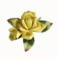 Andrea by Sadek Porcelain Small Yellow Rose With Bud