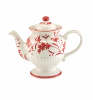Andrea by Sadek RED LEAF Ribbed Pedestal Teapot