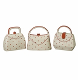 Andrea by Sadek Red Polka Dot Purse Banks (Set of 3 Assorted)