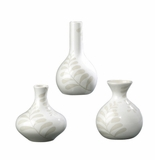 Andrea by Sadek Set of 3 Assorted Cream Leaves Vases