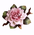 Andrea by Sadek Single Pink Rose On Branch Figurine