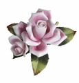 Andrea by Sadek Single Pink Rose Porcelain Flower Figurine