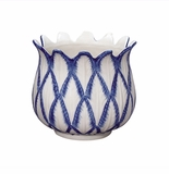 Andrea by Sadek Small Tulip Planter Blue in Bloom