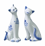Andrea by Sadek Standing Cats Salt & Pepper Set Blue and White