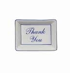 "Andrea by Sadek ""Thank You"" Soap or Catch-All  Dish - Blue Border"