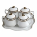 Andrea by Sadek White and Gold Pot de Creme Set with Tray