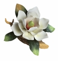 Andrea by Sadek White Magnolia on Branch Porcelain Flower Figurine