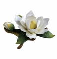 Andrea by Sadek White Magnolia with Bud Porcelain Flower Figurine