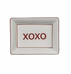 "Andrea by Sadek ""XOXO"" Soap or Catch-All  Dish - Red Border"