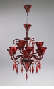 Andretti Red Glass Chandelier by Cyan Design