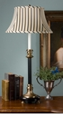 Antique Brass & Black Footed Buffet Lamp with Stripes Home Decor