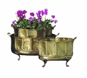 Antique Brass Embossed Footed Planters Set/3 Home Decor