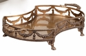 Antique Brass Garland Footed Tray Home Decor