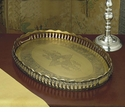 Antique Brass Oval Gallery Tray Home Decor