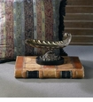 Antique Brass Scoop Centerpiece with Black Marble Base Home Decor