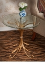 Antique Gold Iron Wheat Table with Beveled Glass Top Home Decor