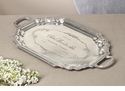 Antique Silver Etched French Tray with Handles Home Decor