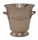 Antique Silver Ice Bucket with Tongs Home Decor