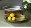 Antique Silver Oval Footed Centerpiece Tray Home Decor