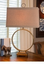 Antiqued Brass Circle Lamp Home Decor