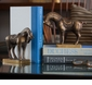 Antiqued Brass Tang Horse Bookends Home Decor