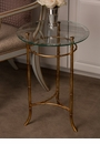 Antiqued Gold Bamboo Side Table Home Decor