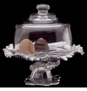 Arthur Court Elephant Footed Plate with Glass Dome
