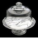 """Arthur Court Horse 8"""" Footed Plate With Glass Dome"""
