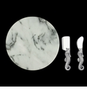"Arthur Court Seahorse Cheese Set with 12"" Marble"