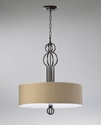 Auburn Fabric Shaded Bronze Pendant Light by Cyan Design