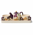 Autumn Leaves Tea for Two Set with Tray by Hues & Brews