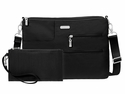 Baggallini Black Tablet Crossbody Bag with RFID Shield and Sand Lining