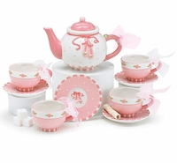 Ballerina Child's Tea Set - Teapot with Four Cup & Saucer Sets