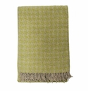 Birchwood Arturo Green Houndstooth Merino Wool Throw