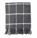 Birchwood Foxford Classic Grey Windowpane Wool Throw