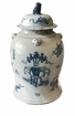 Blue And White Covered Tea Jar Home Decor