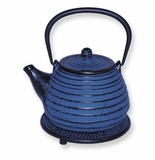 Blue Tetsubin Cast Iron Beehive Teapot 26 oz with Infuser & Trivet