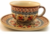 Boleslawiec Polish Pottery Cup & Saucer Set - Design DU70