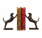 Bronze Leaning Hound Bookends Home Decor