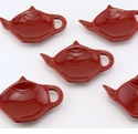 Burgundy Red Teapot Tea Bag Holder Caddy Set of 6