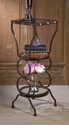 Button Hammered 3-Tier Table with Tinted Glass Shelves Home Decor