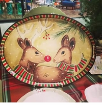 Casafina Deer Friends Oval Toleware Tray