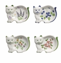 Cat Porcelain Handpainted Tea Bag Holders (Set of 12)