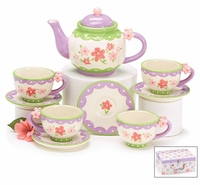 Ceramic Porcelain Tea Set with Pastel Mini Flowers in Box