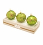 Christopher Radko Green Boxed Glass Ornaments, Set of 3