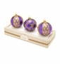 Christopher Radko Purple Boxed Glass Ornaments, Set of 3
