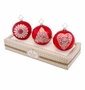 Christopher Radko Red Boxed Glass Ornaments, Set of 3
